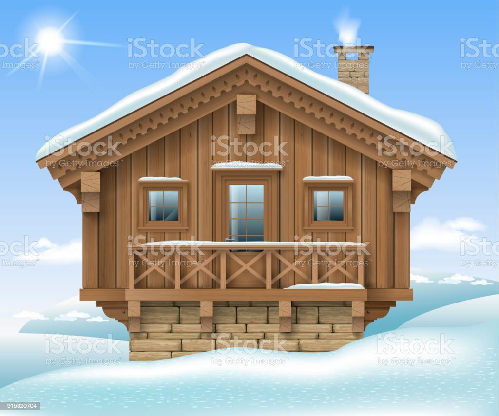 Wooden house in the winter mountains vector art illustration