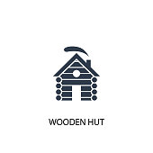 wooden hut icon. Simple element illustration. wooden hut concept symbol design from Russia collection. Can be used for web and mobile.
