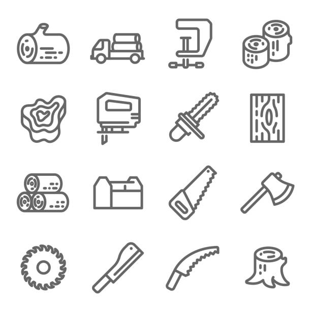 Wooden Icon Set. Contains such Icons as Chainsaw, Log, Axe and more. Expanded Stroke Wooden Icon Set. Contains such Icons as Chainsaw, Log, Axe and more. Expanded Stroke electric saw stock illustrations