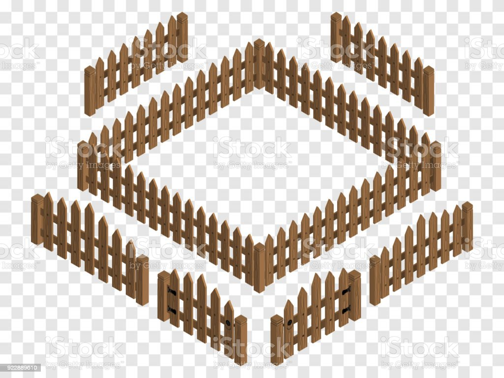 Wooden isometric fences and gates. Vector template. Design elements isolated vector art illustration