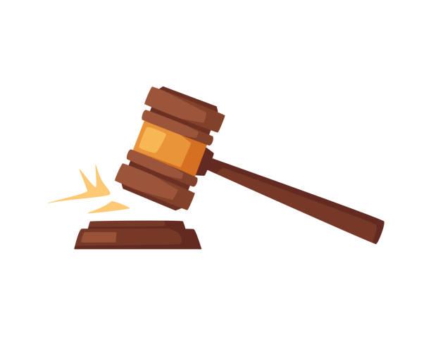 Wooden judge gavel. Cartoon vector illustration Wooden judge gavel. Soundboard isolated on white background. Cartoon vector illustration. Sound of kick auction stock illustrations