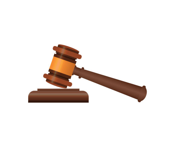 Wooden judge gavel isometric 3D elements Wooden judge gavel and soundboard isometric 3D element. Law and judgment, auctioneer tool vector illustration. gavel stock illustrations