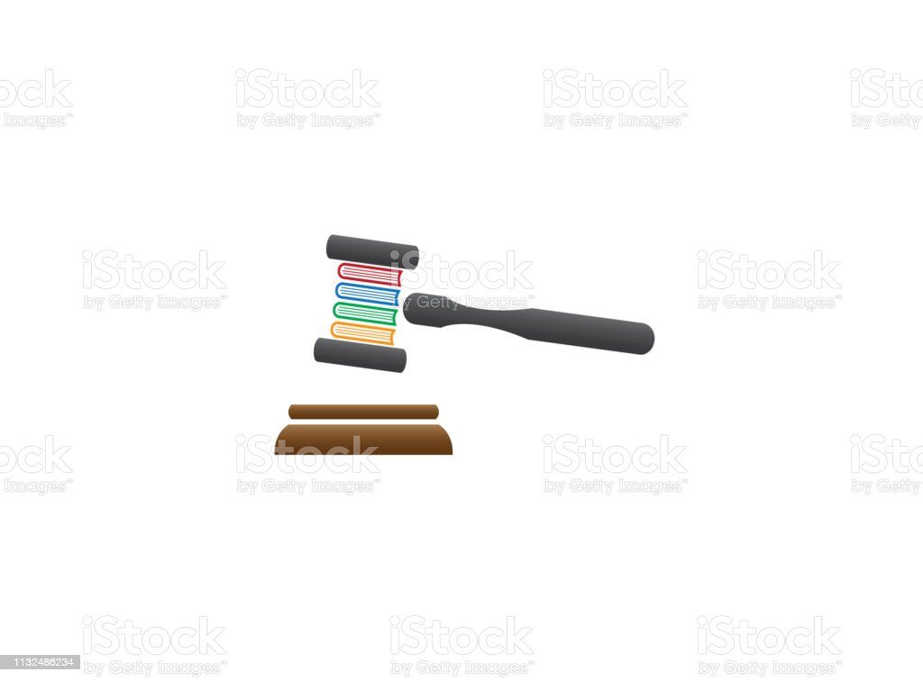 Wooden Judge Gavel Or Auction Hammer With Book Law For Logo Design