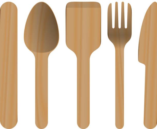 Vecteur d'ustensiles de cuisine en bois - Illustration vectorielle