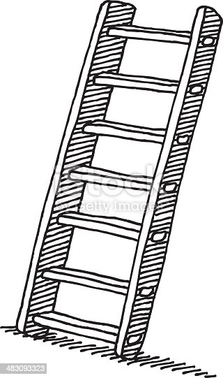 Wooden Ladder Drawing Stock Vector Art & More Images of