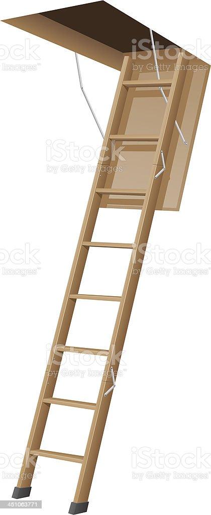 wooden ladder to the attic vector illustration vector art illustration
