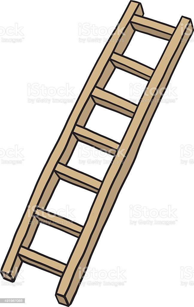 wooden ladder vector art illustration