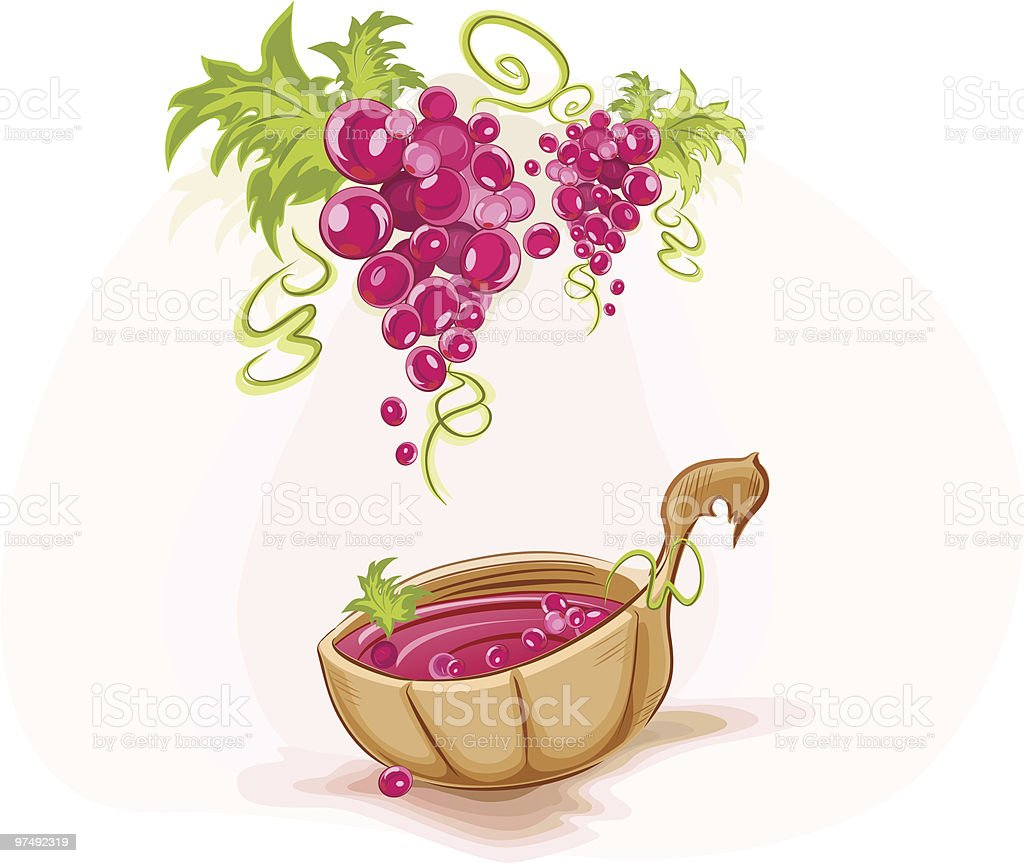 Wooden ladle full of wine and grape bunches royalty-free wooden ladle full of wine and grape bunches stock vector art & more images of abundance