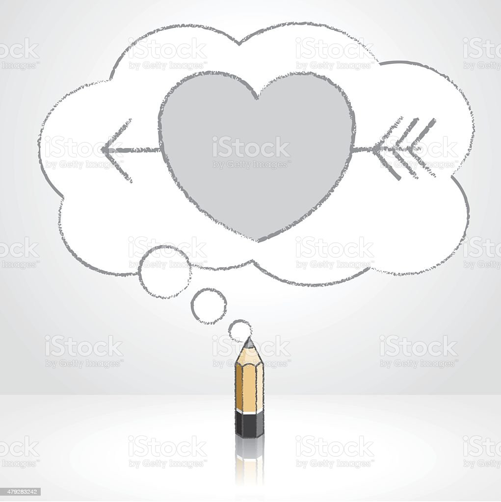 wooden lead pencil drawing arrow through heart thought cloud bubble