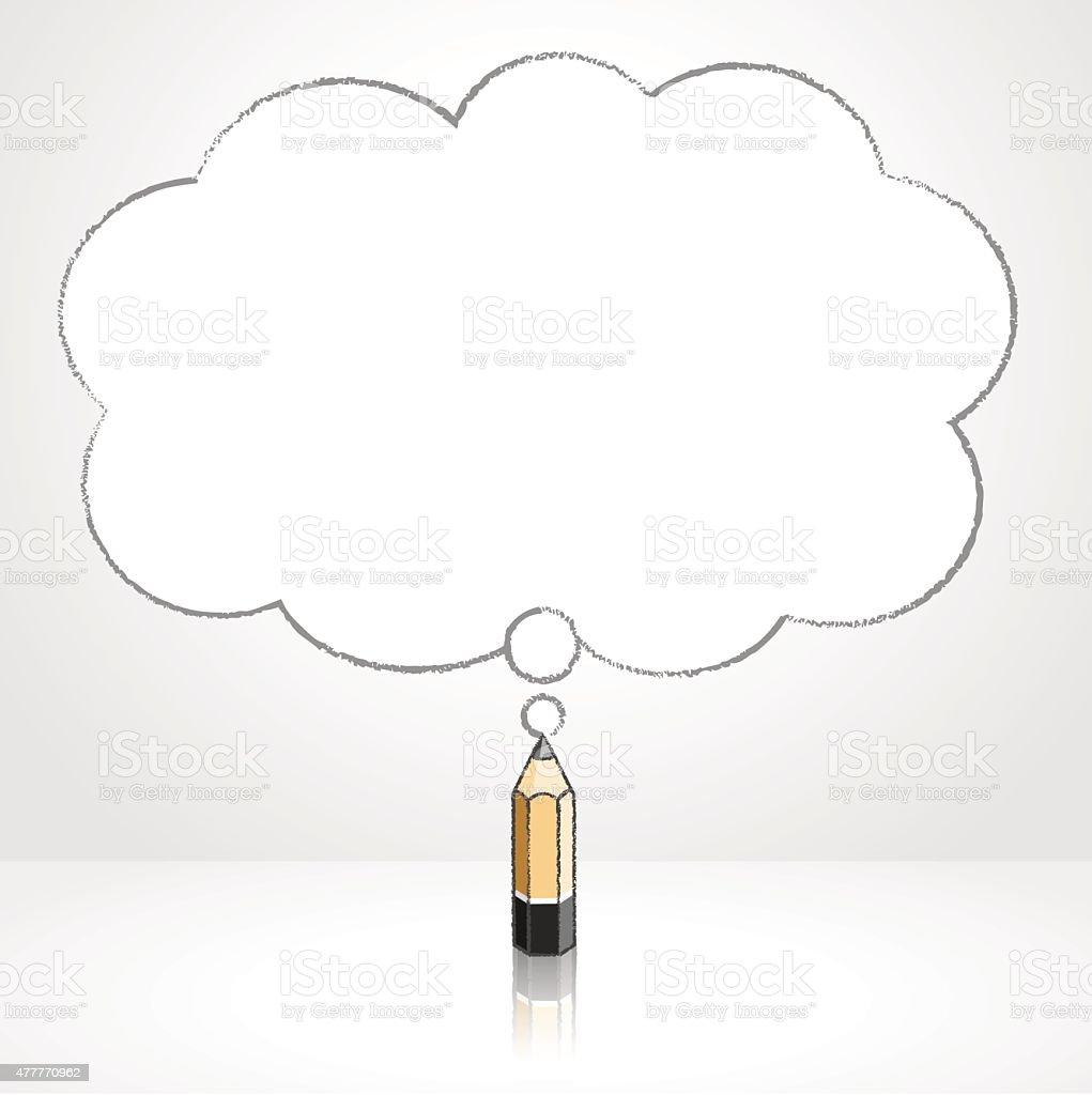 Ilustración de Cable De Madera Dibujo A Lápiz Suave Cloud Burbuja De ...