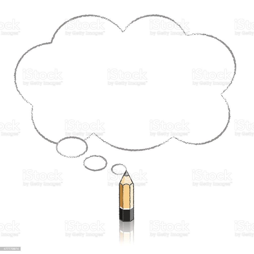 Wooden Lead Pencil Drawing Fluffy Cloud Thought Balloon vector art illustration