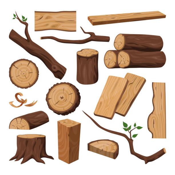 drewniany kłód, posiekany pień, drewno i gałąź drzew - gałązka stock illustrations