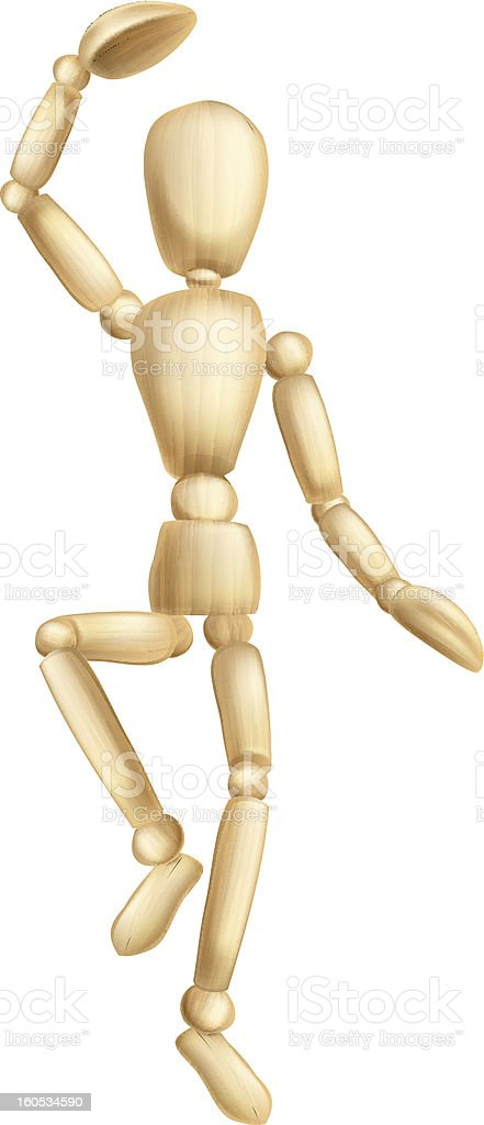 Wooden man dancing royalty-free stock vector art