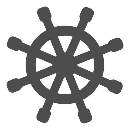 Wooden marine wheel solid icon, nautical concept, ship helm sign on white background, Shipboard steering wheel icon in glyph style for mobile concept and web design. Vector graphics.