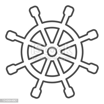 Wooden marine wheel thin line icon, nautical concept, ship helm sign on white background, Shipboard steering wheel icon in outline style for mobile concept and web design. Vector graphics