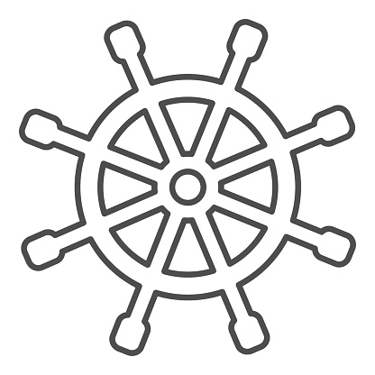 Wooden marine wheel thin line icon, nautical concept, ship helm sign on white background, Shipboard steering wheel icon in outline style for mobile concept and web design. Vector graphics.
