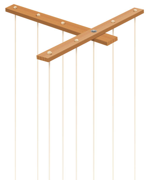 wooden marionette control bar with strings without puppet. symbol for manipulation, control, authority, domination - or just as a toy for a puppeteer. isolated vector on white. - marionetka stock illustrations
