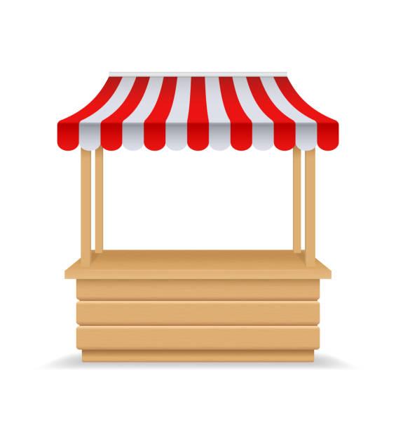 stockillustraties, clipart, cartoons en iconen met houten markt kraam, fair booth. 3d lege kiosk met gestreepte luifel, dak. geïsoleerde markt stand mockup voor voedsel. houten teller met zonnescherm voor straat handel, outdoor retail. leverancier kraam. - marktkraam