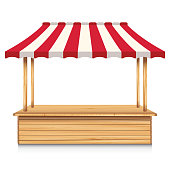 Wooden market stall with red awning on a white background.