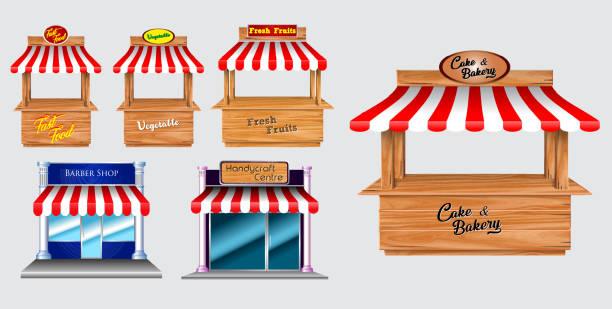 木製の市場スタンドストールや様々なキオスク、(ファーストフード、野菜、新鮮な果物、理髪店、ハンディクラフト、ケーキパン屋) 孤立した赤と白の縞模様の日除け、 - 美容室 3d点のイラスト素材/クリップアート素材/マンガ素材/アイコン素材