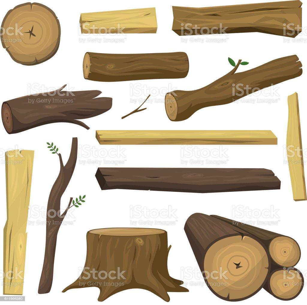 Wooden materials tree logs vector isolated vector art illustration