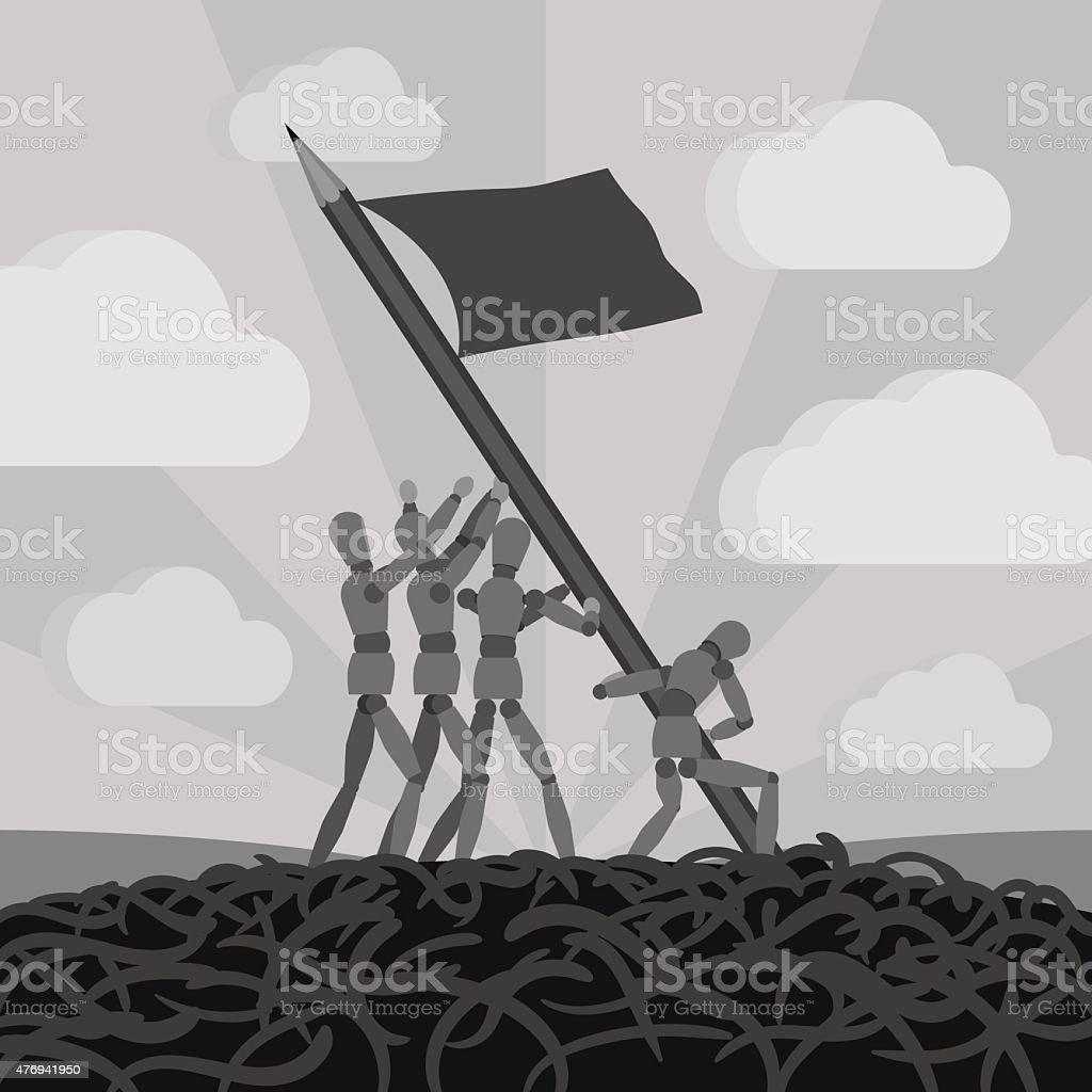 Wooden men establishing the pemcil-flag vector art illustration