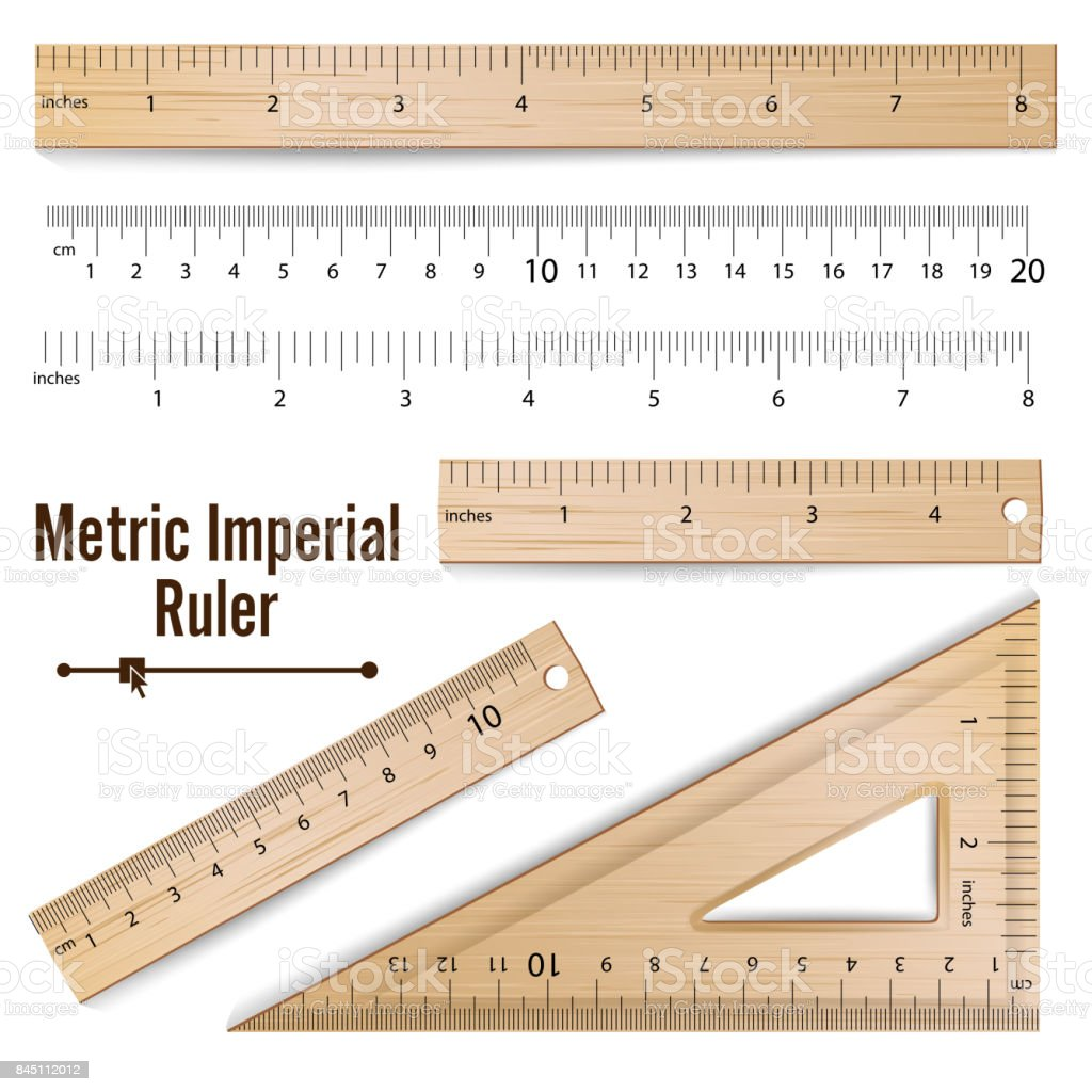 Wooden Metric Imperial Rulers Vector. Centimeter And Inch. Measure Tools Equipment Illustration Isolated On White Background vector art illustration