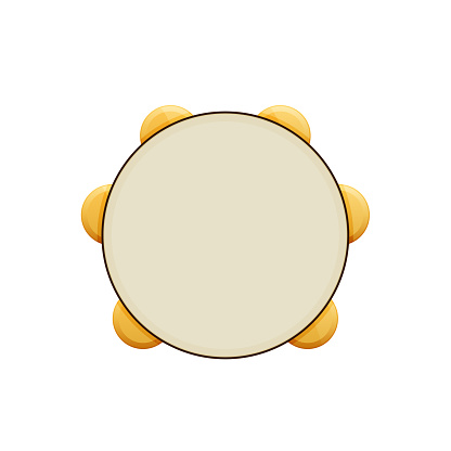 Wooden musical percussion instrument. Tambourine with metal plates