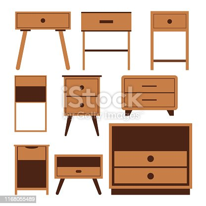 Wooden nightstand bedside icons set, flat design illustration of nine different nightstands bedside vector signs for web isolated on white background.