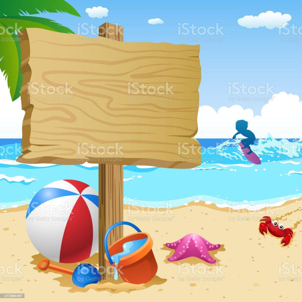 Wooden Notice Board at Summer Beach vector art illustration