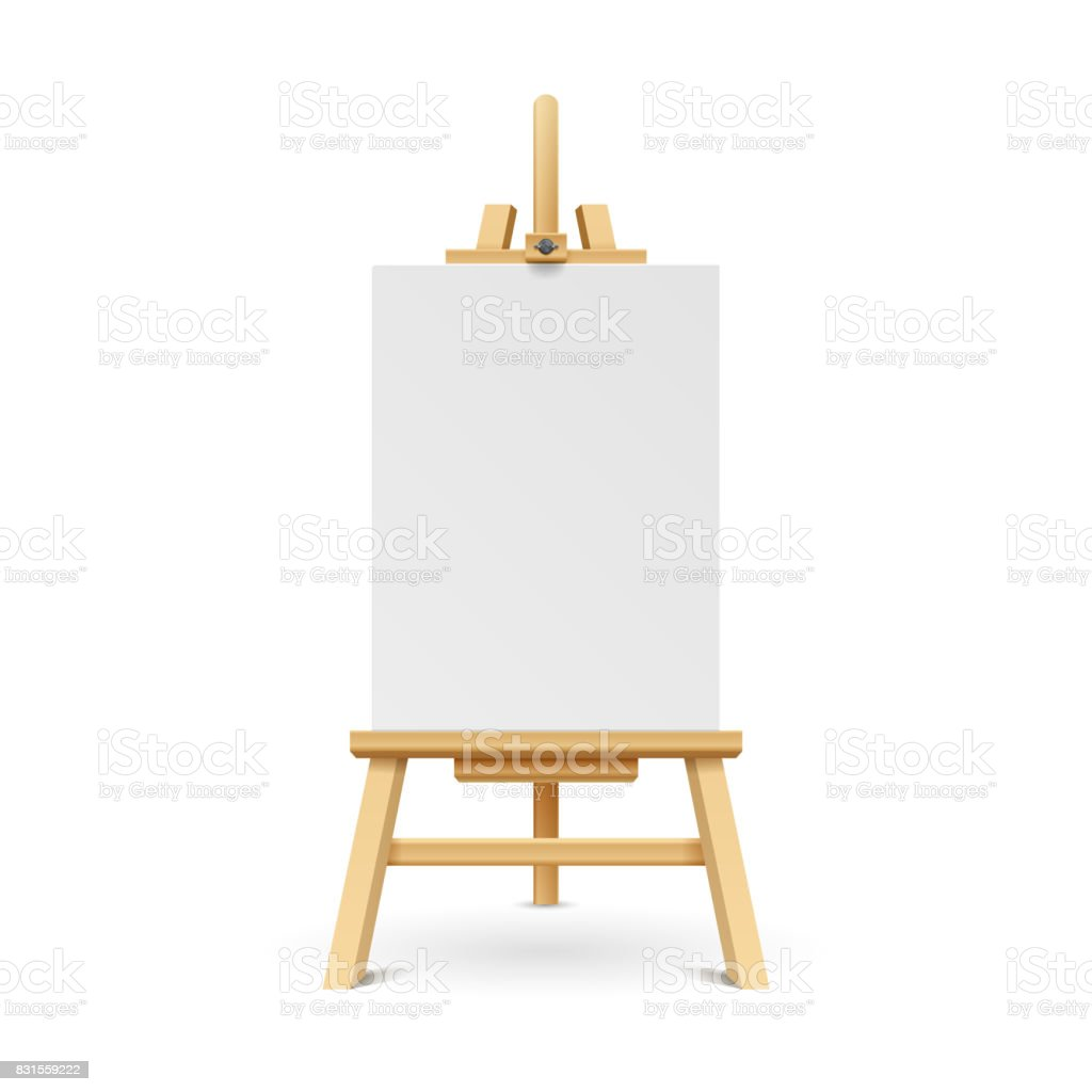 Wooden paint board with white empty paper frame. Art easel stand with canvas vector illustration vector art illustration