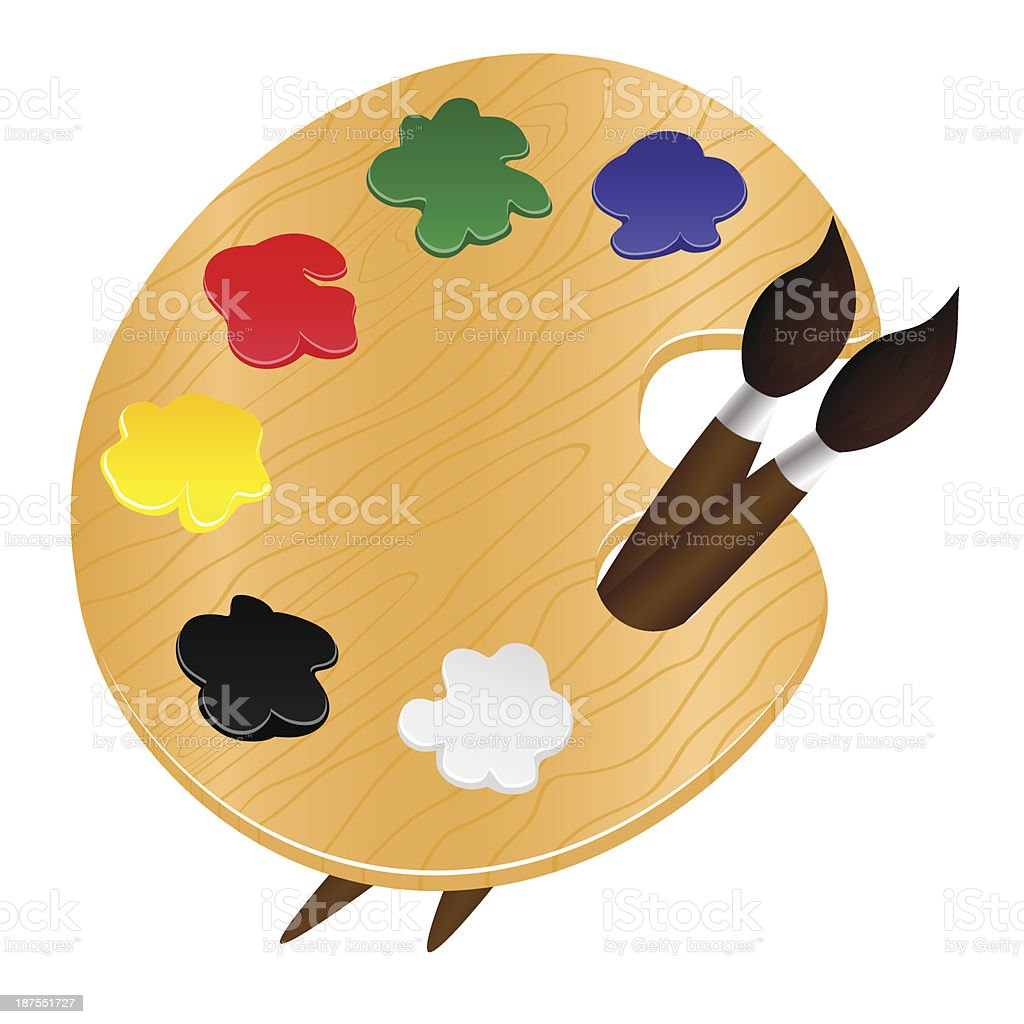 Wooden palette with paints and brushes - vector illustration vector art illustration