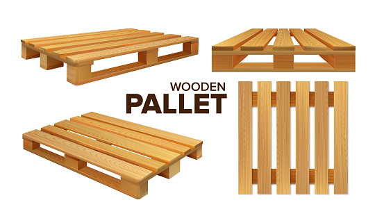 Wooden Pallet Different Size Collection Set Vector