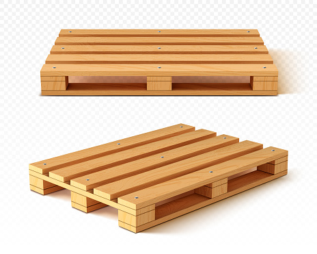 Wooden pallet front and angle view. Wood trays