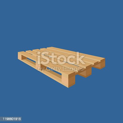 Wooden pallet isolated on blue background. Perspective view. Vector illustration.
