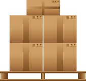 Wooden pallet with cardboard boxes