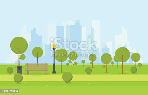 City park wooden bench, lawn and trees, trash can. Flat style illustration. On background business city center with skyscrapers and large buildings, river. Green park vegetation in center of big town