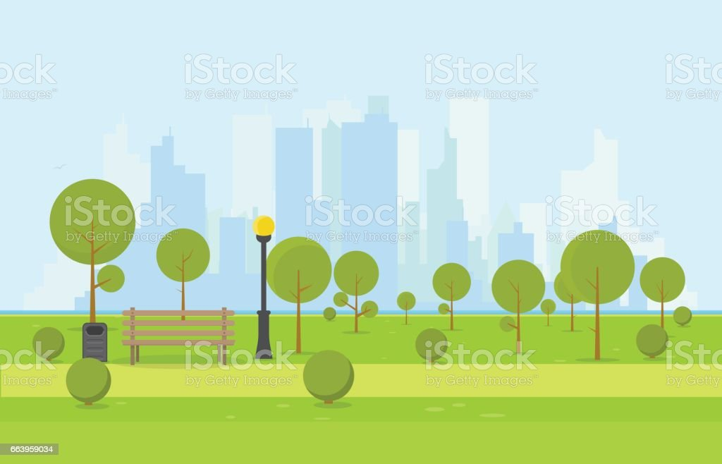 Wooden park bench vector art illustration