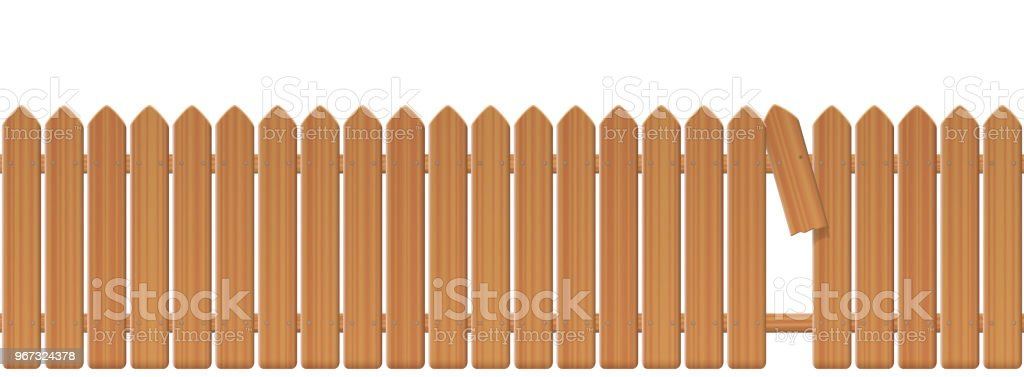 Wooden picket fence with gap in the fence. Palisade or stockade with broken plank and loophole to slip through, escape, bolt, run away, break free, flee, take off, slip away, sidle off. Illustration. vector art illustration
