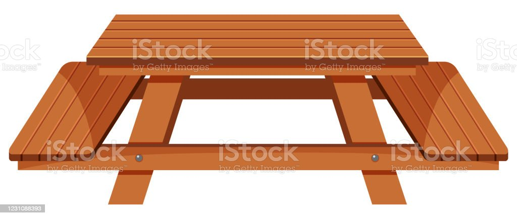 Stainless Steel Bathroom Vanity Cabinet, Wooden Picnic Table On White Background Stock Illustration Download Image Now Istock