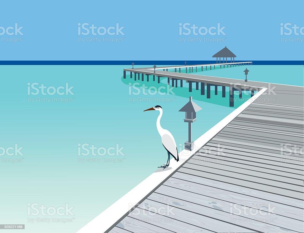 Wooden pier at tropical resort vector art illustration