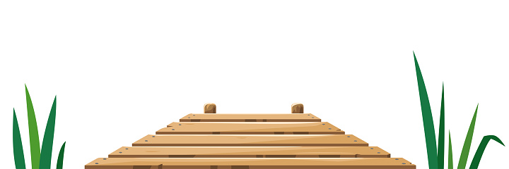 Wooden pier in front view isolated