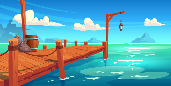 Wooden pier on river, lake or sea landscape, wharf
