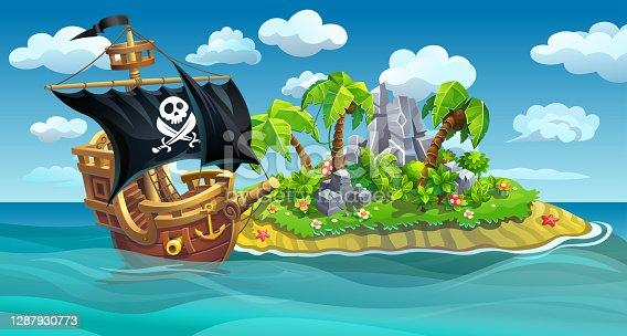 istock Wooden pirate ship near the island 1287930773