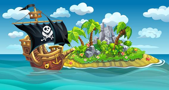 Wooden pirate ship near the island