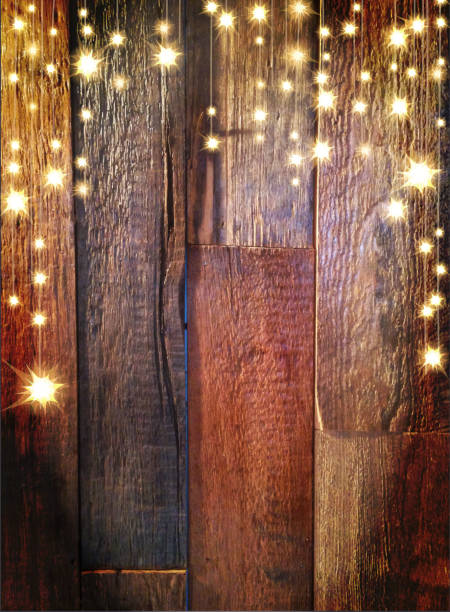 Wooden Planks Background With String Lights Vector Art Illustration