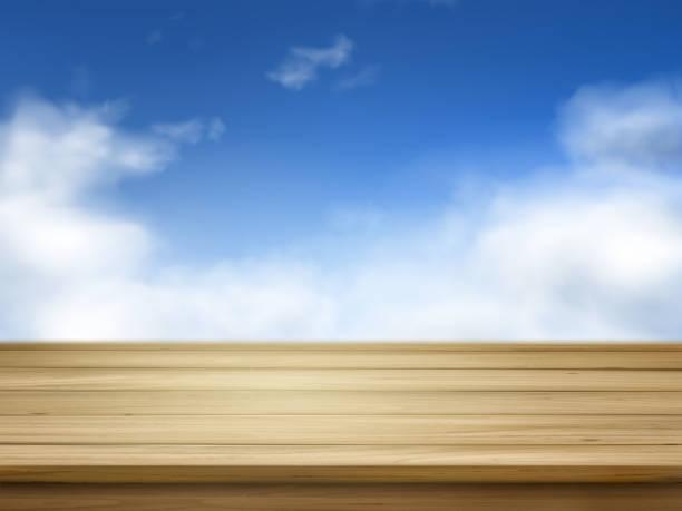 illustrazioni stock, clip art, cartoni animati e icone di tendenza di tavole di legno isolato su blu cielo - tavolo legno