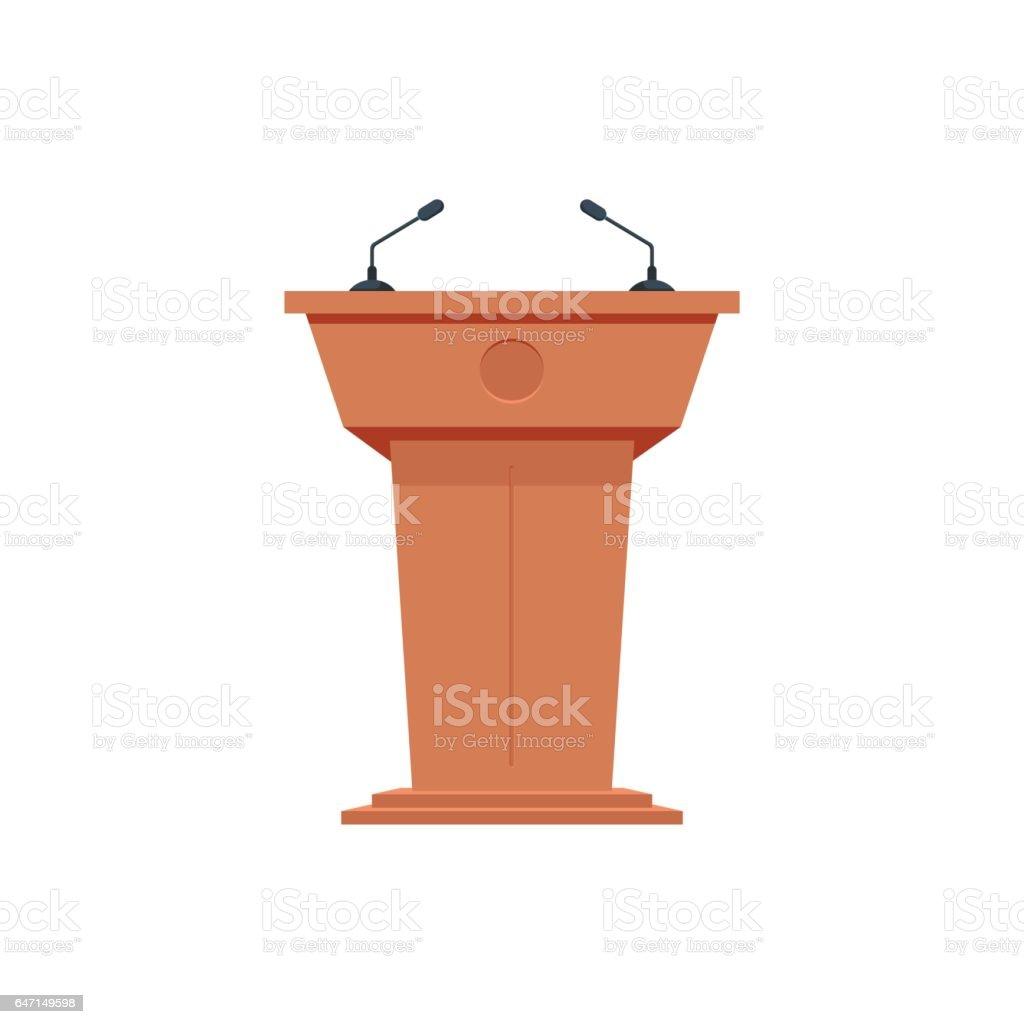 Wooden podium tribune stand rostrum with microphones. Flat icon. vector art illustration