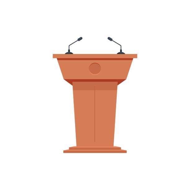 hölzerne podium tribüne stand rostrum mit mikrofonen. flach-symbol. - standlautsprecher stock-grafiken, -clipart, -cartoons und -symbole