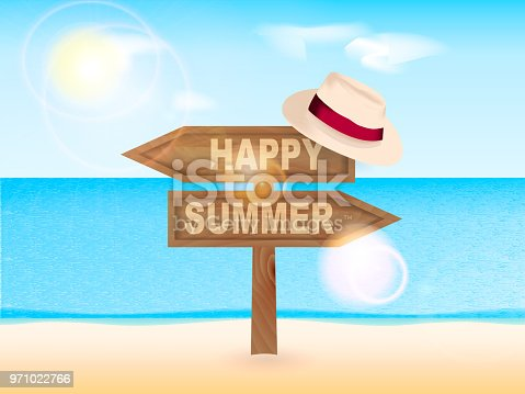 Wooden pointer Happy Summer with a hat. Sea background. Vector illustration